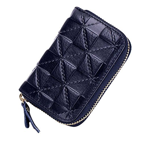 Summer Clearance Big Sale for Back to School Supply-Credit Card Organizer Wallet, Welegant RFID Blocking Genuine Leather Zipper Wallet Purse Case for Men Teen Boys (Square, Navy Blue) -