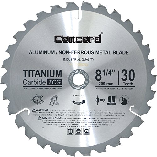 Concord Blades ACB0825T030HP 8-1/4-Inch 30 Teeth TCT Non-Ferrous Metal Saw Blade Industrial Radial Arm Saw