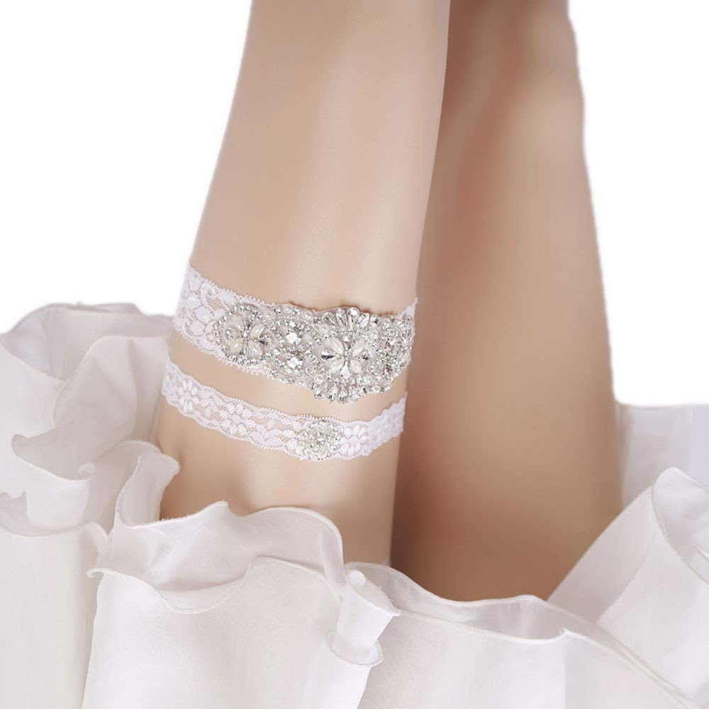 WoodBury Wedding Womens White Rhinestones Bridal Garters Set for Bride Lace