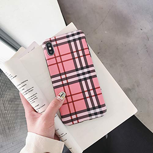 - YALTOL for iPhone Xs Max,XR,XS/X,7/8,7/8plus,6/6s,6/6splus Personality Creative Fashion TPU Pink Plaid Mobile Phone Shell Drop Protection Sleeve,XR