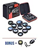 Cell Phone Telephoto Camera Lens 10 in 1 Kit Fisheye Lens 198° + 0.63x Wide Angle& 15X Macro Lens + Kaleidoscope + CPL HD Universal Zoom Lens Clip-on iPhone X/8/8 Plus/7/7 Plus/6s/6 Samsung