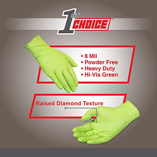 1st Choice Premium Green Nitrile 8 Mil Thick Disposable Gloves, Diamond Texture, Large, Case of 400 - Industrial Grade, Latex-Free by 1st Choice (Image #2)