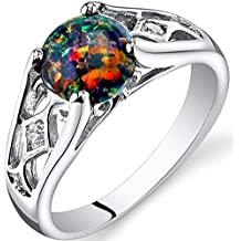 Created Black Opal Venetian Ring Sterling Silver 1.00 Carats Sizes 5 to 9
