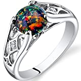 Created Black Opal Venetian Ring Sterling Silver 1.00 Carats Size 9