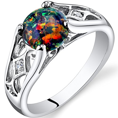 - Peora Created Black Opal Venetian Ring Sterling Silver 1.00 Carats Size 8