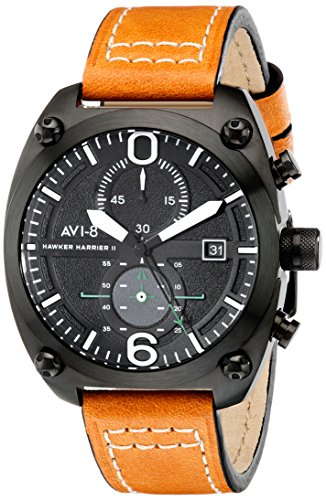 AVI-8 Men's AV-4037-02 Hawker Harrier II Stainless Steel Watch with Orange Leather Band