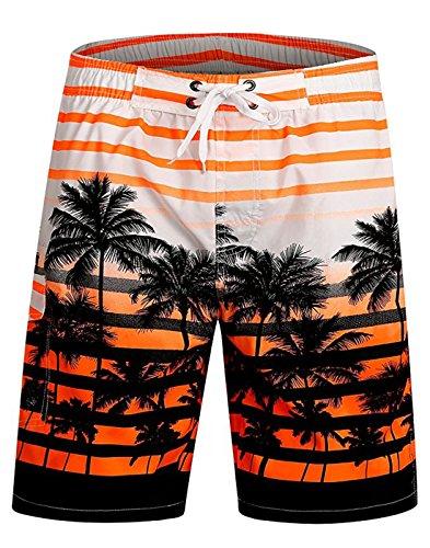 APTRO Swim Trunks Bathing Suits Men Hawaiian Shorts #1525 Orange XXXL