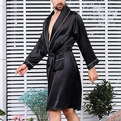 Lu's Chic Men's Satin Kimono Robe Silk Loungewear Long Sleeves Pockets Luxury Spa Bathrobe