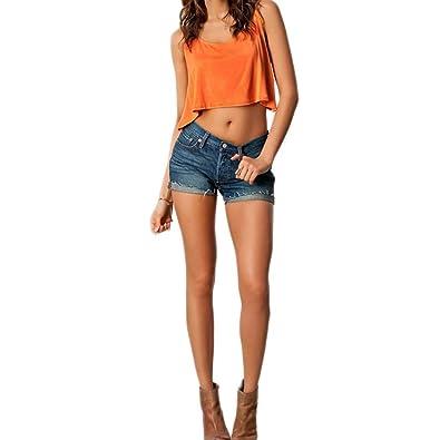 c038c78ed Segolike Sexy Fashion Women Crop Top Punk Heart Cut Out Back Sleeveless  Short T-shirt Tank Tops Orange: Amazon.in: Jewellery