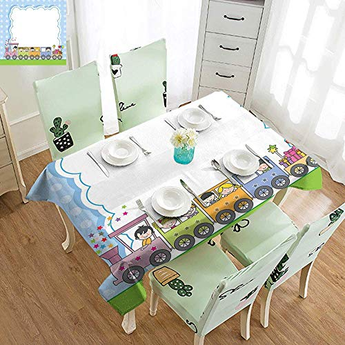 DILITECK Washable Table Cloth Kids Party Locomotive Train with Cute Children and Surprise Present Boxes Retro Polka Dots Party W70 xL94 Multicolor
