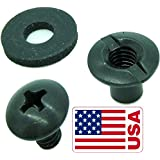 """Black Chicago Screw - Binding Post Kit 1/4"""" or 3/8"""" Open Slotted Back Fasteners- Neoprene Rubber Washers & Phillips Truss Heads by QuickClip Pro for Kydex or Leather Gun Holster & Knife Sheath Making"""