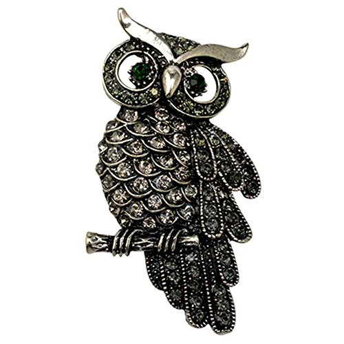RoseSummer Owls Vintage Brooches Antique Designer (Black) (Black Designer Brooch)
