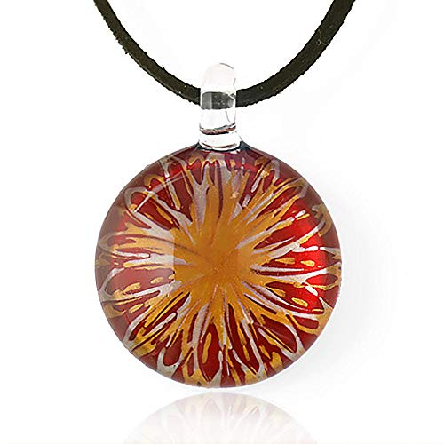 Chuvora Hand Blown Venetian Murano Glass Red with Yellow Flower Pendant Necklace, 18-20 inches - Red Murano Glass Pendant