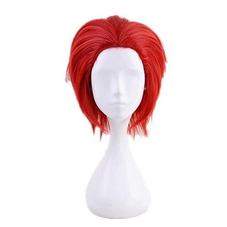 Ani·Lnc Casquillo de la peluca del pelo + animado cosplay sintética fiesta de Halloween peluca de vestuario completa rosso