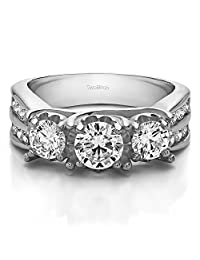 14k White Gold Anniversary Ring Charles Colvard Moissanite(.98Ct)Size 3 To 15 in 1/4 Size Intervals