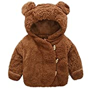 Toddler Baby Boys Girls Fur Hoodie Winter Warm Coat Jacket Cute Bear Shape Thick Clothes,Coffee,0-6 Months