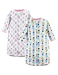 Hudson Baby Baby Long Sleeve Cotton Safe Wearable Sleeping Bag, 2 Pack