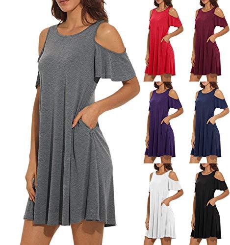 Nero Spalla Estate Barlingrock Women Gonna Manica Corta Fredda Cocktail Dress W29DIYeEH