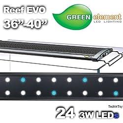 "Green Element EVO 36""-40"" LED Aquarium Light Fixture - Reef Capable 24x3W"