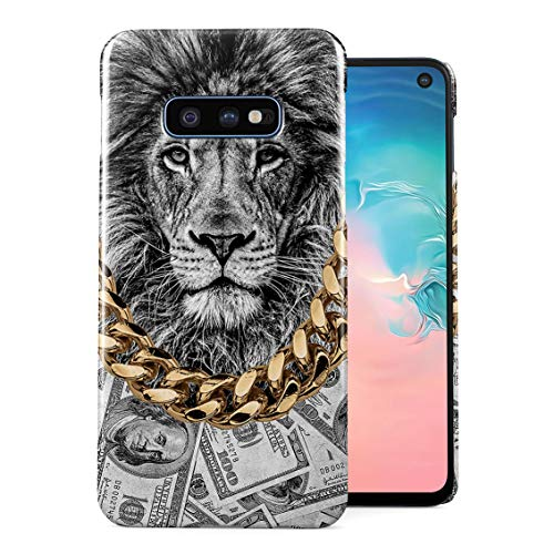 Gold Chains Lion King Cash Billionaire Luxury High Life Swag Dope Trill Plastic Phone Snap On Back Case Cover Shell Compatible with Samsung Galaxy S10e ()