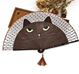 Brown 50Pcs/Lot Paint Handle Hand-Painted Japanese Girls Cat Fan Silk Bamboo Folding Fan Creative Cartoon Chinchillas