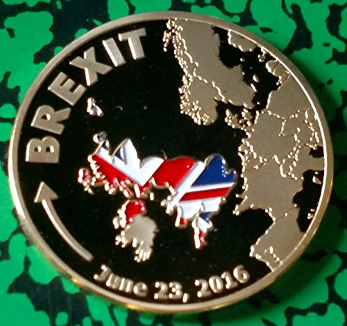 Brexit Uk Colorized Gold Plated Challenge Art Coin