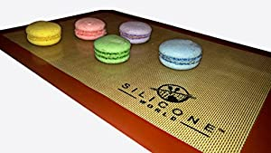 "Silicone World - Professional Grade Silicone Baking Mat - Incredible Reusable 2-Pack, Durable, Non-stick Fiberglass 11-5/8"" X 16-1/2"" Oven Sheets, Eco-friendly, Non-toxic and BPA-free"
