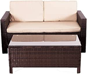 UFI 2pcs Patio Furniture Sets All Weather Indoor Outdoor Loveseats Rattan Wicker with Cushion and Cafe Table Garden Yard Poolside Balcony RTA Brown