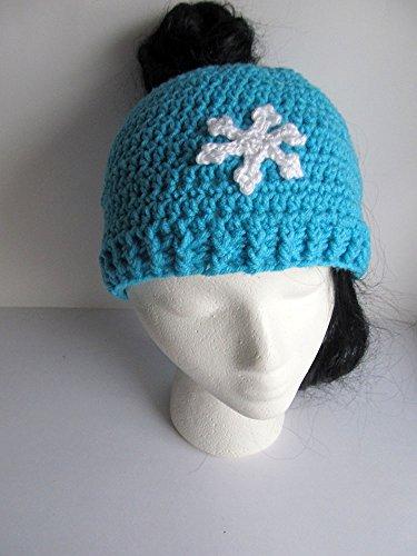Turquoise Stitch (Messy Bun Hat - Crochet Pony Tail Hat - Knit Bun Beanie - Running Hat - Messy Bun Beanie - Cable Stitch Messy Bun Hat - Cable Bun Hat with Snowflake)