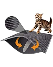 Pieviev Cat Litter Mat Trapper - 76 x 61 cm Honeycomb Double Layer Tapis Litiere Chat -Traps Messes, Easy Clean and Durable, Non Toxic Trapper Rug Suitable for Litter Tray (Gray)