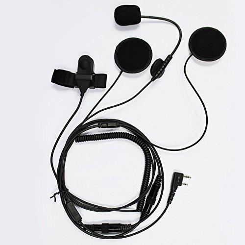 Open Face Helmet Headset (GoodQbuy® Open/Half Face Motorcycle Bike Helmet Earpiece Headset Mic Microphone For BaoFeng UV5R Kenwood Two Way Radio Walkie Talkie TK3118 TK3130 TK3131 TK3160 TK3170 TK3173 etc 2pin)