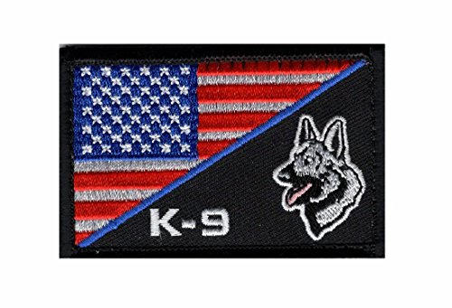 K-9 Usa American Flag Thin Blue Line Police Swat Tactical Morale Hook Patch (PK2)