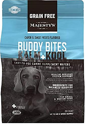 Majesty's Buddy Bites Kalm and Kool Grain-Free Supplement for Small and Medium Dogs - Carob and Sweet Potato Flavored - 28 Count Bag ()