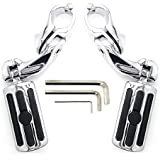 "Highway Pegs Foot Rests to fit 1.25"" Engine Guard - Harley Davidson Road Glide, Electra Glide, Road King, Street Glide by KONDUONE (C)"