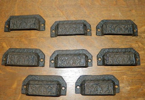 Set/8 Ornate Cast Iron Industrial Tool Seed Index File Bin Pull or - Floral Flush Gold