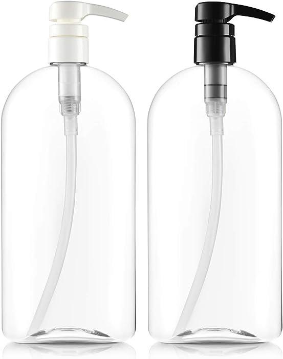 Bar5F Empty Shampoo Bottles with Pumps, 32oz/1Liter/Large, Multicolor