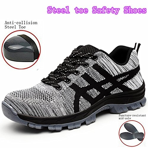 GUDUN Breathable Unisex Steel Toe Boots Men's Comp Steel Toe Boots Steel Toe Safety Work Shoes Hiking Boot Logging Lumber Steel Toe Shoes(Check feet Length to Choose Size) (43, ()