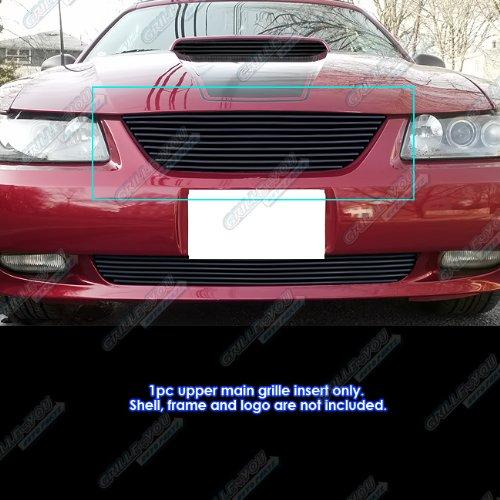 APS Compatible with 99-04 Ford Mustang V6 V8 GT Black Main Upper Billet Grille Insert N19-H90068F (Ford Mustang Grille Main)
