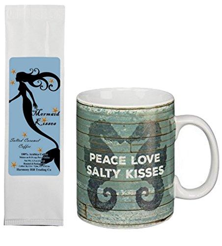 Seahorses Peace Love Salty Kisses Beach Mug with Mermaid Kisses Salted Caramel Coffee Gift Set Bundle (2 Items)