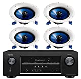 Denon 5.2 Channel 700-Watt Full 4K Ultra HD Bluetooth AV Home Theater Receiver + Yamaha High-Performance Moisture Resistant 2-Way 8'' 140 watt Surround Sound in-ceiling Speaker System (Set Of 4)