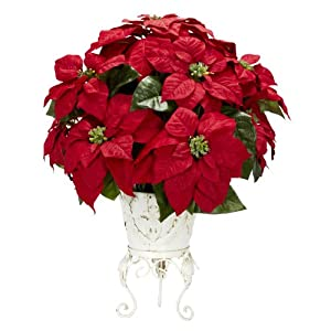 Nearly Natural 1267 Poinsettia with Metal Planter Silk Flower Arrangement, Red 84