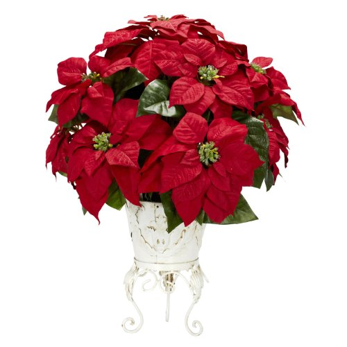 Nearly Natural 1267 Poinsettia with Metal Planter Silk Flower Arrangement, Red