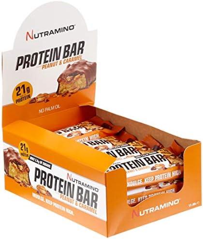 Nutramino Protein bar/Eiweiß Riegel (21g Eiweiß) Chunky Peanut und Caramel EiweißRiegel, 1er Pack (12 x 60g)
