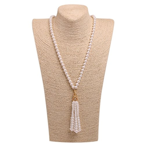 Wild Wind (TM) Valentine's Diamond Leopard Tassels Pearl Necklaces (Golden Yellow Pendant)