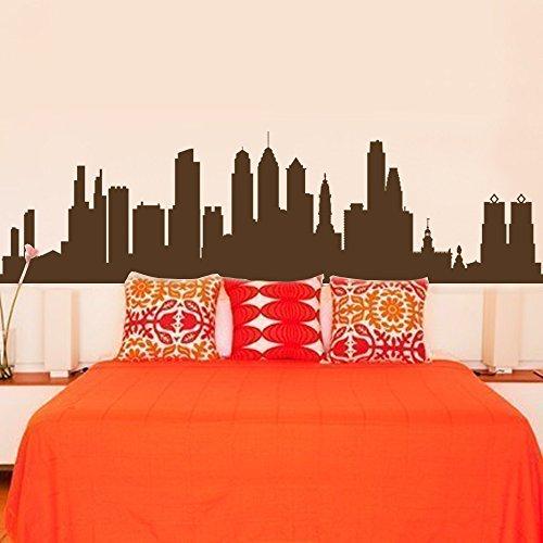 "Philadelphia Pennsylvania City Skyline Silhouette Wall Decal Vinyl Sticker Art Home Decor for Living Room(16""h x 57""w,Black)"