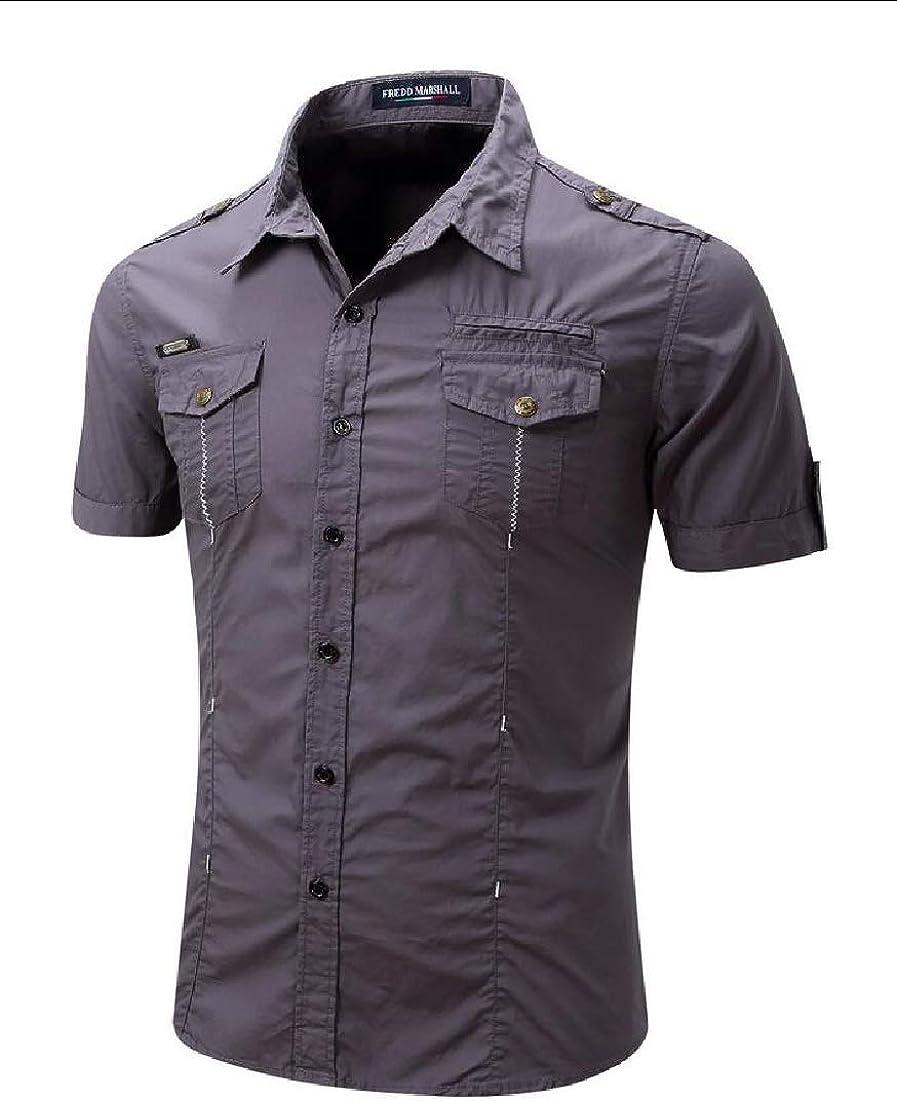 Qiangjinjiu Men Fashion Short Sleeve Slim Fit Button Down Shirts Casual Dress Shirt