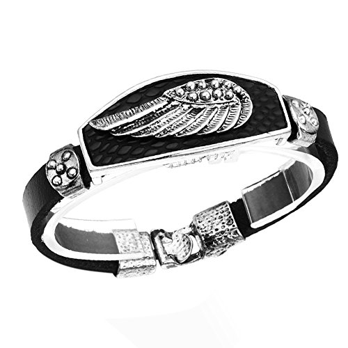 Leather Angel Wings (Cupimatch Vintage Retro Angel Wing Cool Leather Bracelet Cuff Bangle)