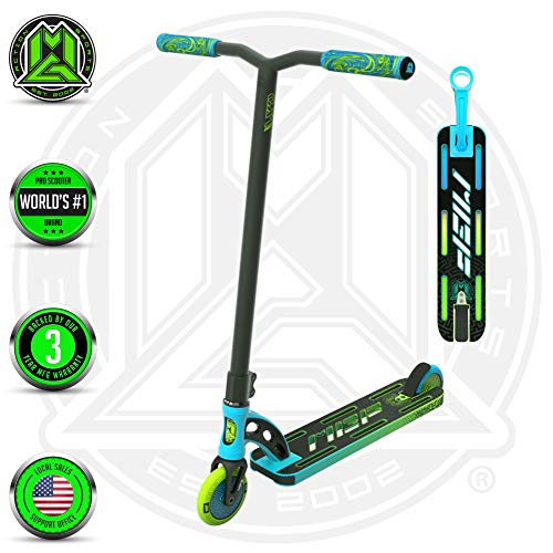 VX9 PRO Scooter - Suits Boys & Girls Ages 6+ - Max Rider Weight 220lbs - 3 Year Manufacturer's Warranty - World's #1 Pro Scooter Brand - MFX Patented Technology - Light Weight (Blue/Green 2019) (Scooters Cheap Mgp)