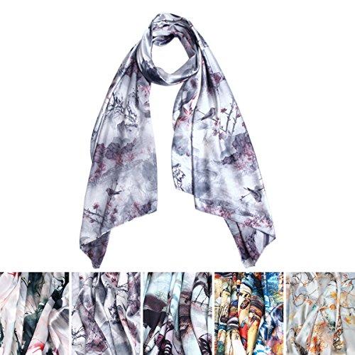 TrendsBlue-Elegant-Artistic-Floral-Scenery-Painting-Silk-Feel-Fashion-Scarf-Wrap