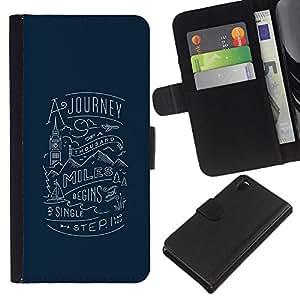 KLONGSHOP // Tirón de la caja Cartera de cuero con ranuras para tarjetas - viaje Londres azul inspirador viaje - Sony Xperia Z3 D6603 //